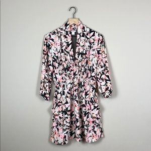 Bar III Floral Drape Front Dress (Size Small)